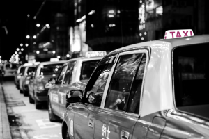 Taxi-Cars-Wait-Jam-Queue-Rank-B&W-Schind